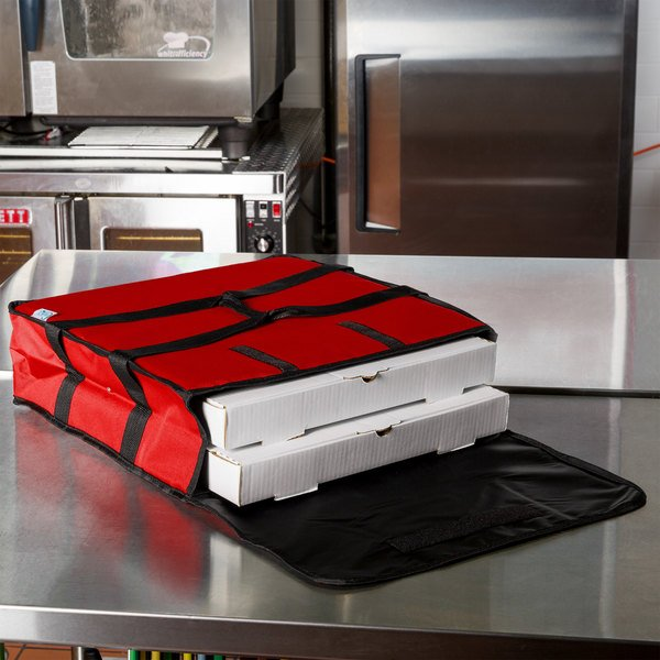 "Choice Insulated Pizza Delivery Bag, Red Nylon, 18"" x 18"" x 5"" - Holds up to (2) 16"" or (1) 18"" Pizza Boxes"