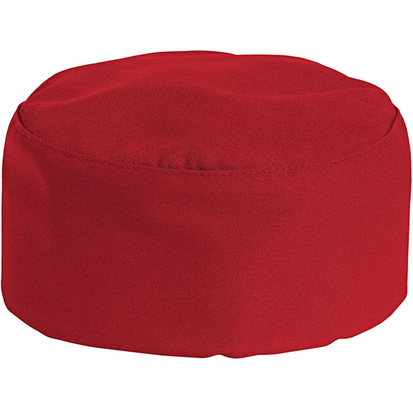 Uncommon Threads 0159 Red Customizable Uncommon Chef Skull Cap / Pill Box Hat with Hook and Loop Closure Main Image 1