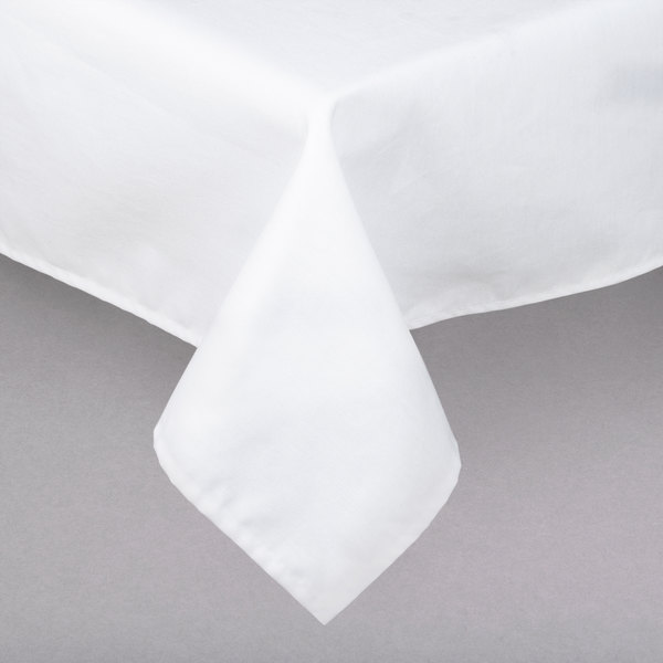 """72"""" x 72"""" Square White Hemmed Poly Cotton Tablecloth"""