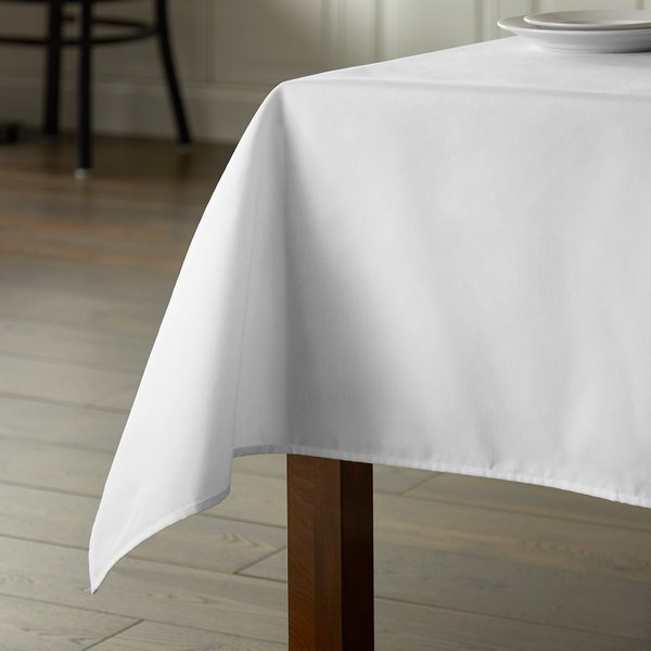 """Intedge 72"""" x 72"""" Square White Hemmed Poly Cotton Tablecloth Main Image 4"""