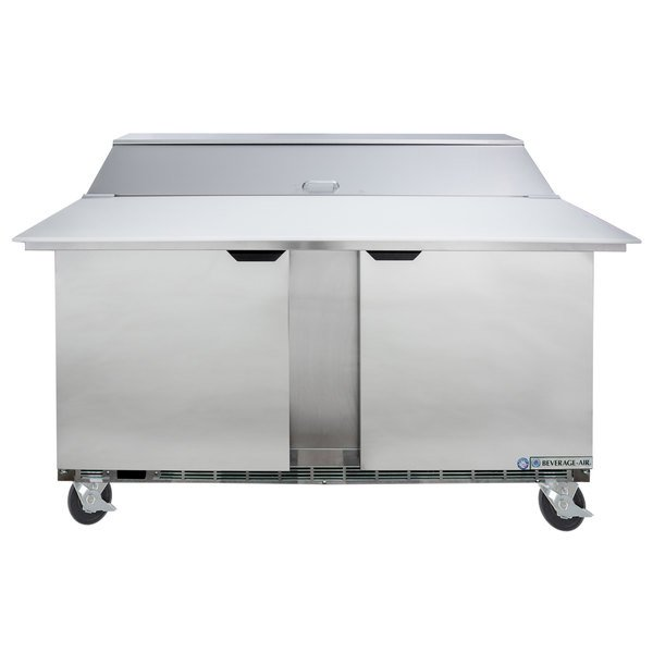 """Beverage-Air SPE60HC-16C Elite Series 60"""" 2 Door Cutting Top Refrigerated Sandwich Prep Table with 17"""" Deep Cutting Board Main Image 1"""