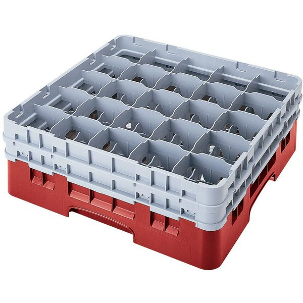 "Cambro 25S318163 Camrack 3 5/8"" High Customizable Red 25 Compartment Glass Rack Main Image 1"