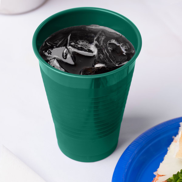 Creative Converting 28312471 12 oz. Hunter Green Plastic Cup - 240/Case Main Image 3