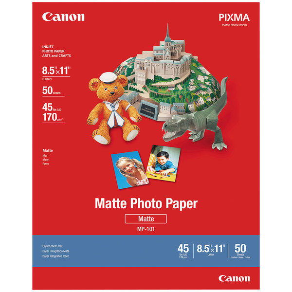 """Canon 7981A004 8 1/2"""" x 11"""" White Pack of 8.5 Mil Matte Photo Paper Plus - 50 Sheets Main Image 1"""