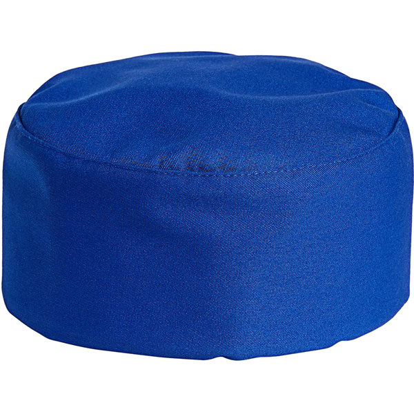 Uncommon Threads 0159 Royal Blue Customizable Uncommon Chef Skull Cap / Pill Box Hat with Hook and Loop Closure Main Image 1