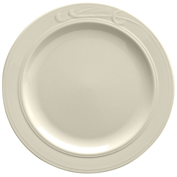 "Homer Laughlin 6091000 Lyrica 10 5/8"" Ivory (American White) China Plate - 12/Case"