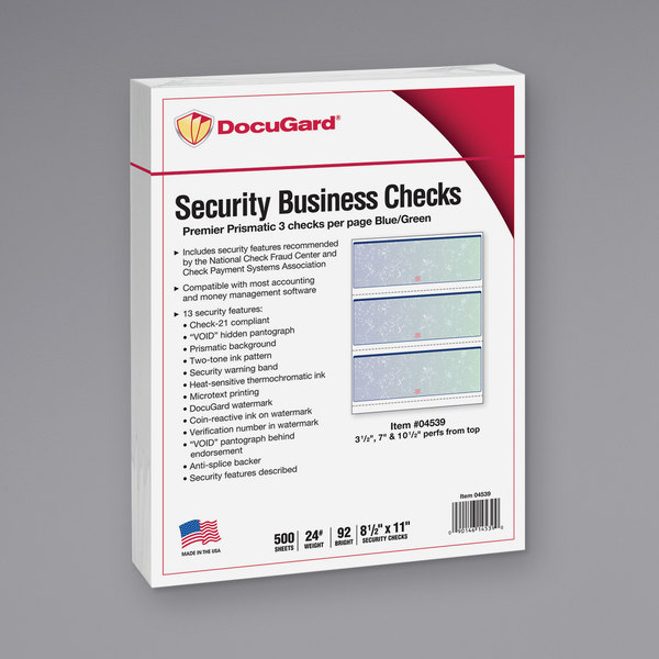 "DocuGard 04539RM 8 1/2"" x 11"" Blue / Green 13 Feature Premier Prismatic Check - 500/Ream Main Image 1"