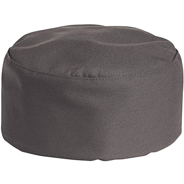 Uncommon Threads 0159 Slate Gray Customizable Uncommon Chef Skull Cap / Pill Box Hat with Hook and Loop Closure Main Image 1