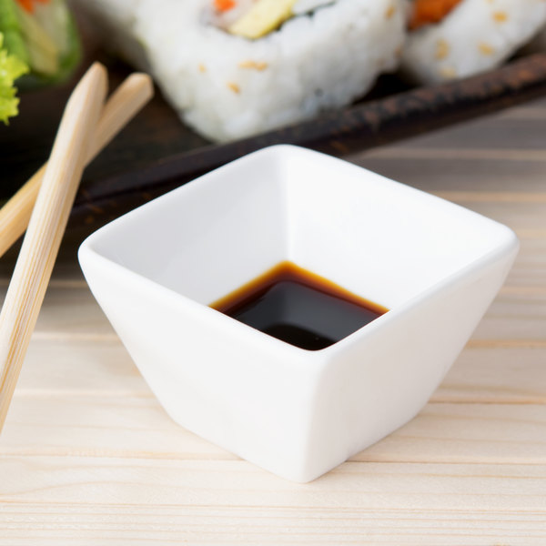 American Metalcraft CSC15 1.5 oz. White Square Porcelain Sauce Cup Main Image 6
