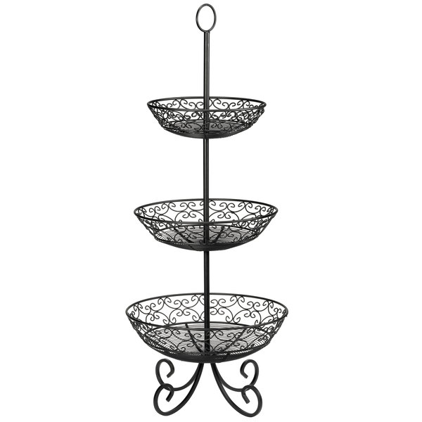 Tablecraft BKT3 Mediterranean Three Tier Black Display Basket with Legs - 34""