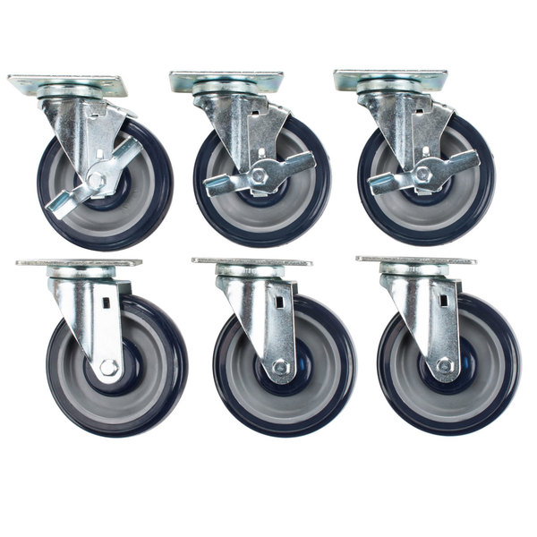 """Regency 5"""" Heavy Duty Zinc Swivel Plate Casters for Work Tables and Equipment Stands - 6/Set Main Image 1"""