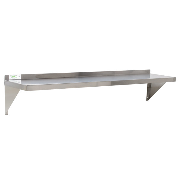 Commercial Stainless Steel Wall Mount Shelf 12 x 48 3-Sided NSF
