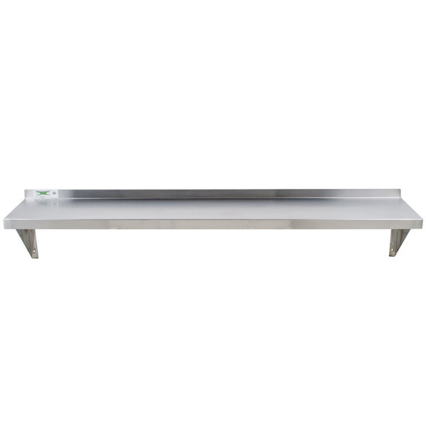 Get a durable shelving unit with the Regency 18 gauge stainless steel 12 x  60 solid wall shelf.