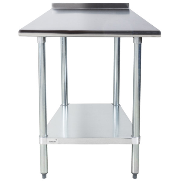 """Advance Tabco FLAG-240-X 24"""" x 30"""" 16 Gauge Stainless Steel Work Table with 1 1/2"""" Backsplash and Galvanized Undershelf"""