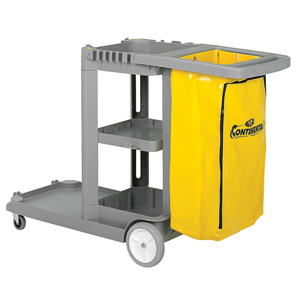 Continental 184GY Gray Janitor Cart with Vinyl Bag Main Image 1