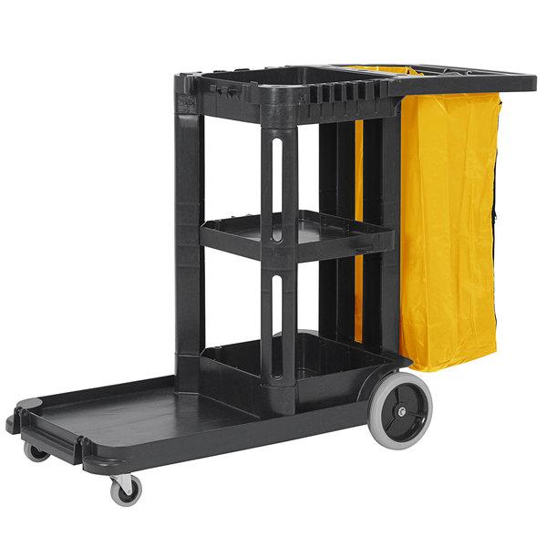Continental 184BK Black Janitor Cart with Vinyl Bag Main Image 1