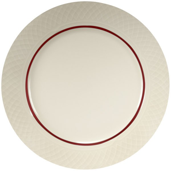 "Homer Laughlin Gothic Maroon Jade 6 1/4"" Off White China Plate - 36/Case"