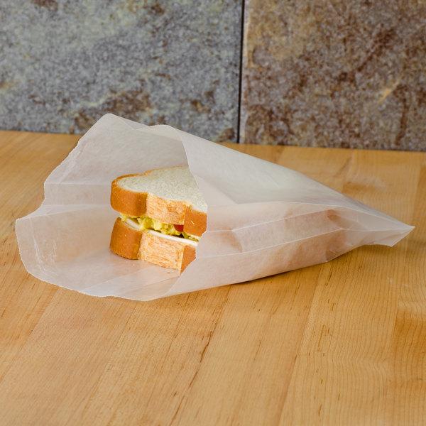 Bagcraft Papercon 91-265-DC White Wet Wax Sandwich Bag - 1000/Box