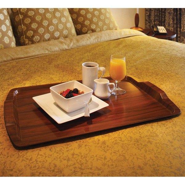 "Cambro 1525RST376 14"" x 21"" Walnut Hotel Room Service Tray - 12/Case"