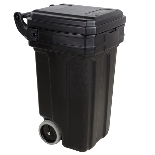 Continental 5850BK Tilt-N-Wheel 50 Gallon Black Wheeled Rectangular Trash Can with Lid Main Image 1
