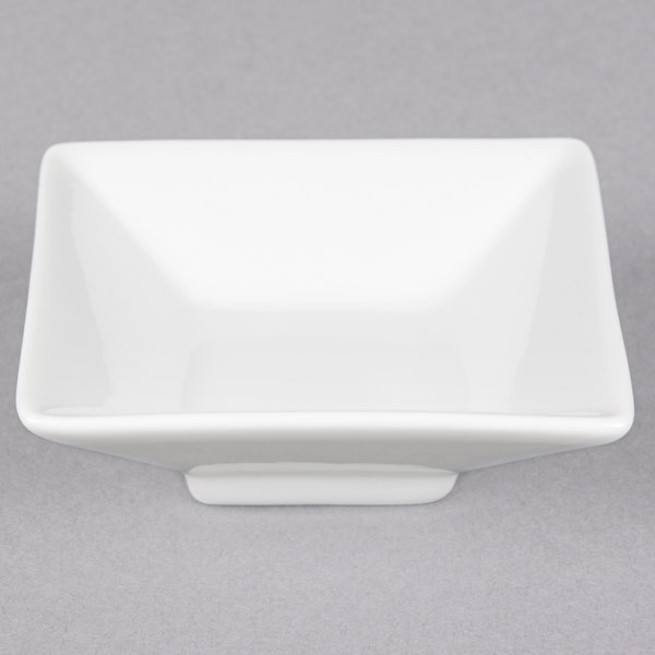 CAC CTY-34 Citysquare 4.5 oz. Bright White Square Porcelain Bowl - 48/Case