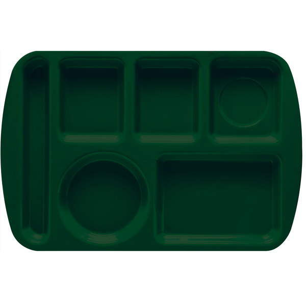 "GET TL-151 Hunter Green Melamine 9 1/2"" x 14 3/4"" Left Hand 6 Compartment Tray - 12/Pack"