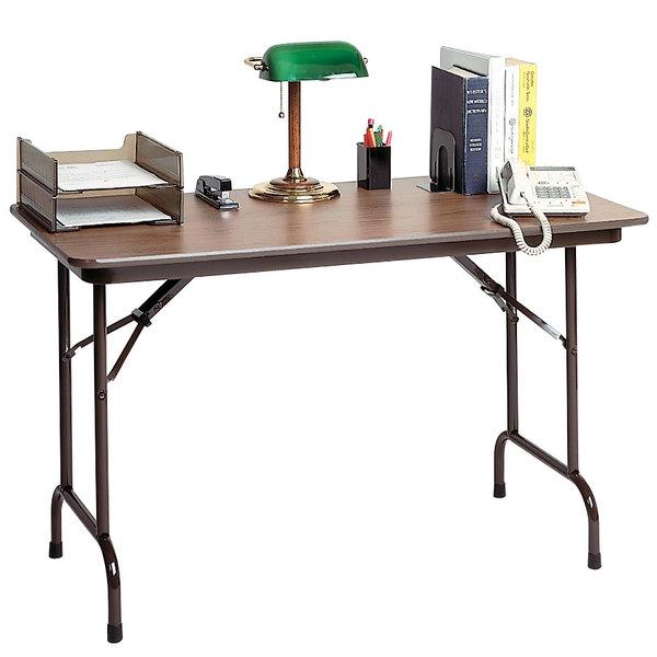 "Correll CF2436MK 24"" x 36"" Walnut Melamine Top Keyboard Height Folding Table Main Image 1"