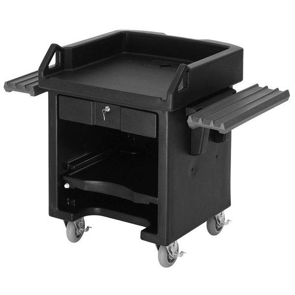 Cambro VCSWRHD110 Black Versa Cart with Dual Tray Rails and Heavy Duty Casters Main Image 1