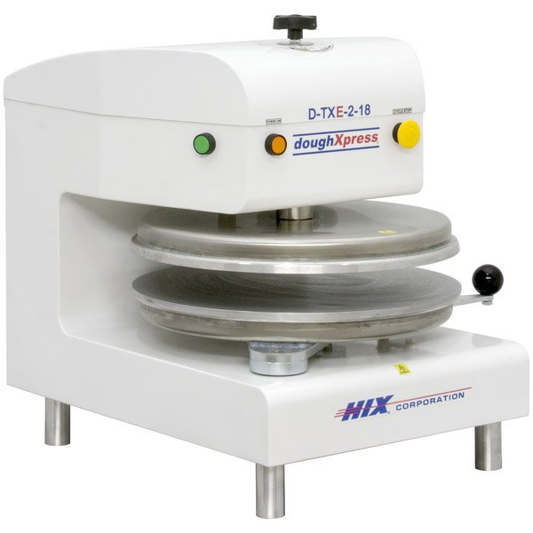 "DoughXpress D-TXE-2-18-WH Dual Heat Round Electromechanical Tortilla Press 18"" - White, 220V Main Image 1"