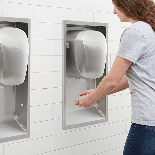Lavex Janitorial Stainless Steel High Speed Automatic Hand Dryer with HEPA Filtration and Recess Kit Main Image 5