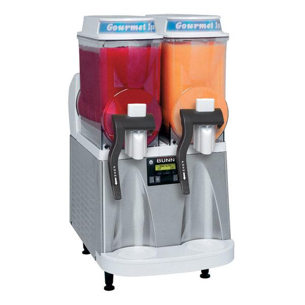 Bunn 34000.0079 Ultra-2 HP High Performance White and Stainless Steel Double 3 Gallon Pourover Slushy / Granita Frozen Drink Machine - 120V