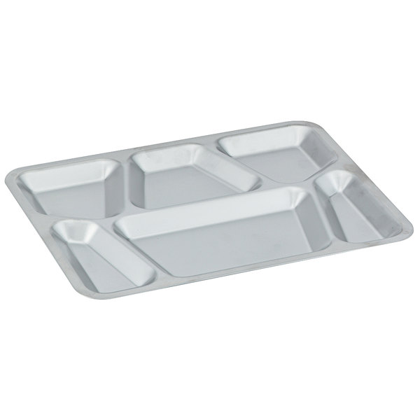 """Vollrath 47252 15 1/2"""" x 11 5/8"""" Mirror Finish Stainless Steel Six-Compartment Tray Main Image 1"""
