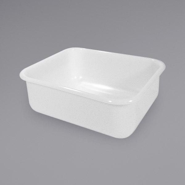 "Rubbermaid FG369000WHT 14"" x 12"" x 5"" White High Density Polyethylene Food Storage Box / Undercounter Bus Tub Main Image 1"