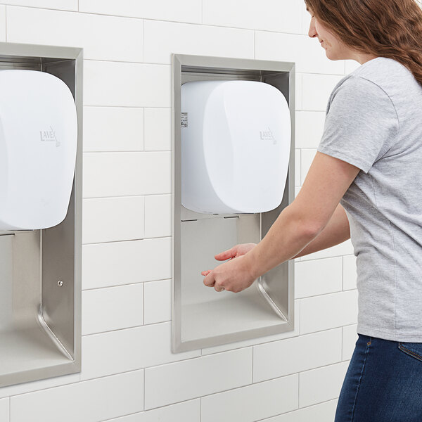 Lavex Janitorial White High Speed Automatic Hand Dryer with HEPA Filtration and Recess Kit Main Image 5