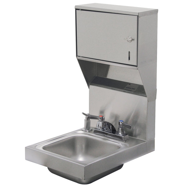 """Advance Tabco 7-PS-83 Space Saving Hand Sink with Deck Mount Faucet, Soap, and Paper Towel Dispenser - 12"""" x 16"""""""