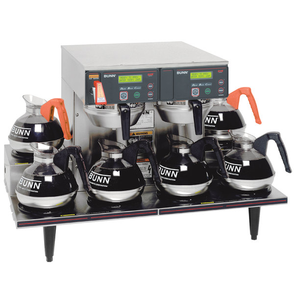 Bunn 38700.0015 Axiom 0/6 Twin 12 Cup Automatic Coffee Brewer with 6 Lower Warmers - 120/208-240V Main Image 1