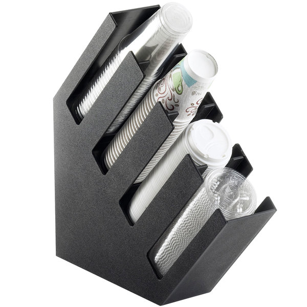 """Cal-Mil 2048-4 Classic Black Slanted 4 Section Cup and Lid Holder - 4 1/2"""" x 19 1/2"""" x 19 1/4"""""""