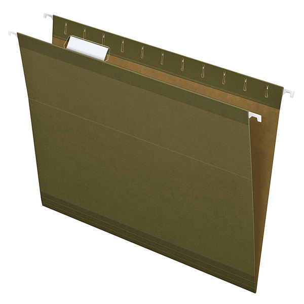 Earthwise by Pendaflex 4152 1/5 Green Recycled Fiber Letter Size 1/5 Cut Hanging Folder - 25/Box Main Image 1