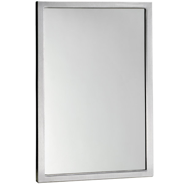"""Bobrick B-290 1836 18"""" x 36"""" Wall-Mounted Mirror with Stainless Steel Welded Frame Main Image 1"""