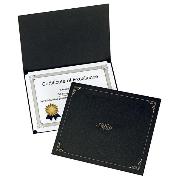 "Oxford 29900055BGD 11 1/4"" x 8 3/4"" Black Letter Size Certificate Holder - 5/Pack Main Image 1"