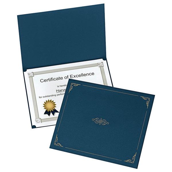 "Oxford 29900235BGD 11 1/4"" x 8 3/4"" Dark Blue Letter Size Certificate Holder - 5/Pack Main Image 1"