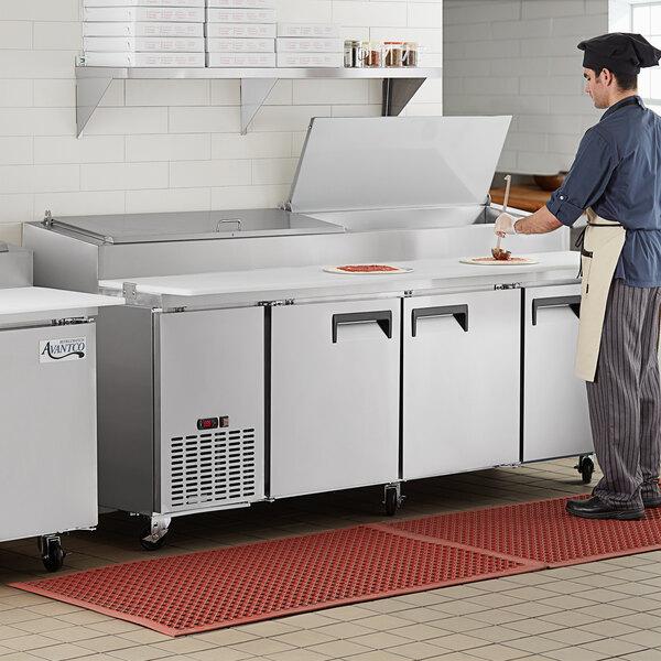 "Avantco APPT-91-HC 91"" 3 Door Refrigerated Pizza Prep Table Main Image 5"
