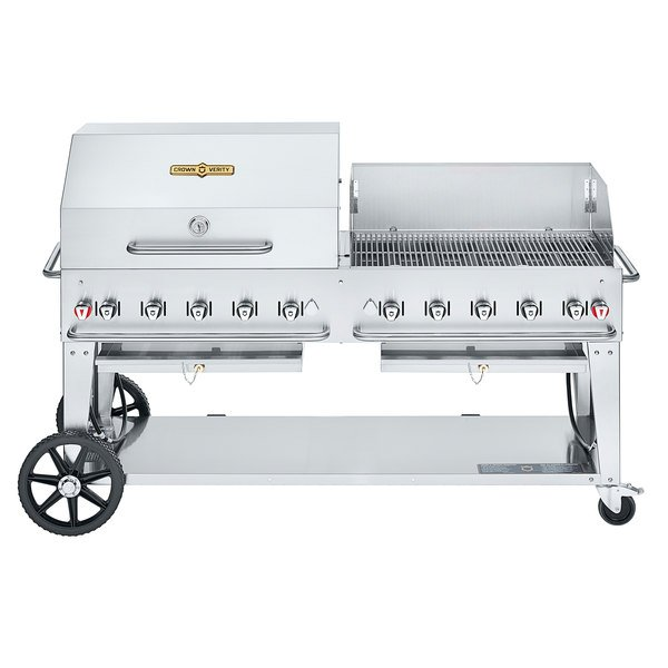 """Crown Verity CV-MCB-72 SI-BULK-RWP Liquid Propane 72"""" Mobile Outdoor Grill with Single Gas Connection, Bulk Tank Capacity, and RWP Roll Dome / Wind Guard Package Main Image 1"""