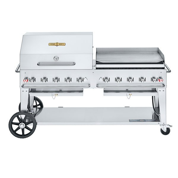 """Crown Verity CV-MCB-72 SI-BULK-RGP Liquid Propane 72"""" Mobile Outdoor Grill with Single Gas Connection, Bulk Tank Capacity, and RGP Roll Dome / Griddle Package Main Image 1"""