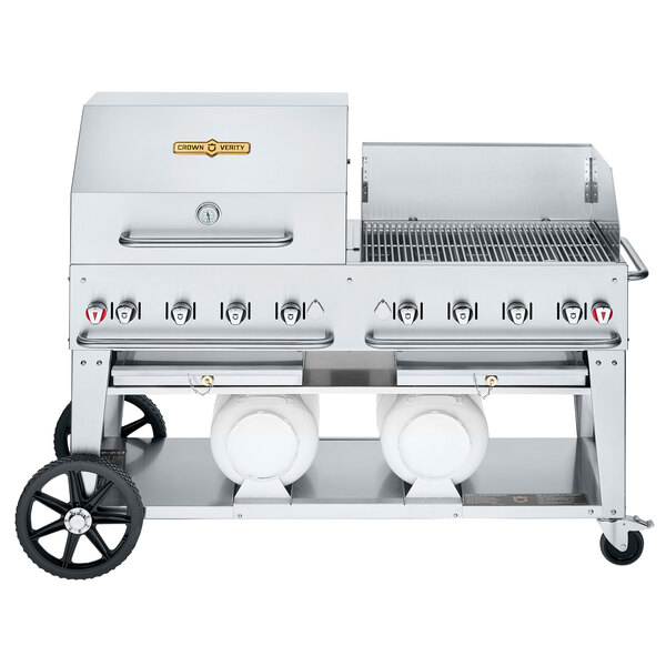 """Crown Verity CV-CCB-60RWP Liquid Propane 60"""" Club Grill with 2 Horizontal Propane Tanks and RWP Roll Dome / Wind Guard Package Main Image 1"""