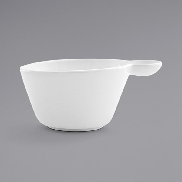 Front of the House DCS039WHP23 Harmony 10 oz. Bright White Porcelain Cup - 12/Case Main Image 1