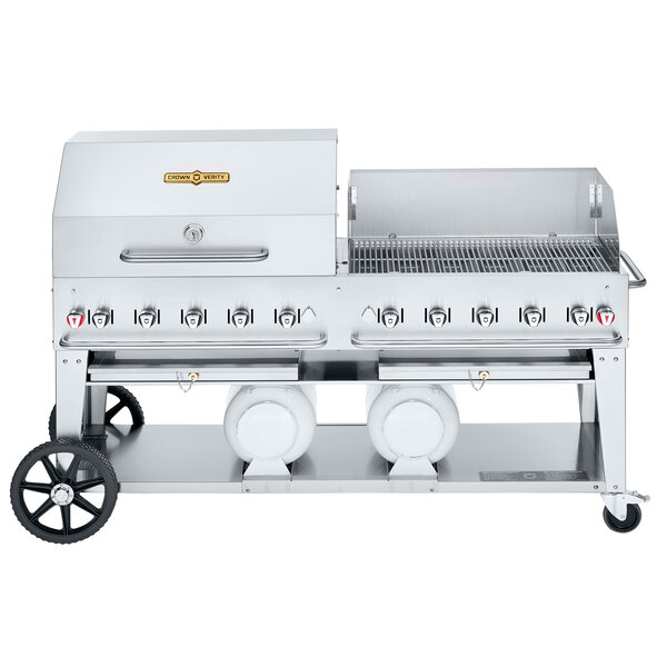 "Crown Verity CV-CCB-72RWP Liquid Propane 72"" Club Grill with 2 Horizontal Propane Tanks and RWP Roll Dome / Wind Guard Package Main Image 1"