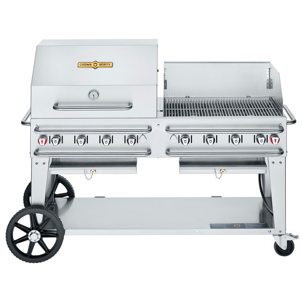 """Crown Verity CV-RCB-60RWP-SI50/100 Liquid Propane 60"""" Pro Series Outdoor Rental Grill with Single Gas Connection, 50-100 lb. Tank Capacity, and RWP Roll Dome / Wind Guard Package Main Image 1"""