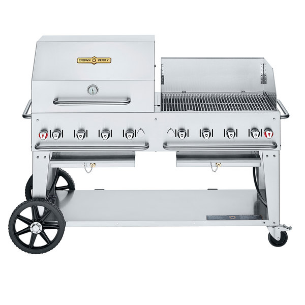 """Crown Verity CV-MCB-60RWP-NG Natural Gas 60"""" Mobile Outdoor Grill with RWP Roll Dome / Wind Guard Package Main Image 1"""