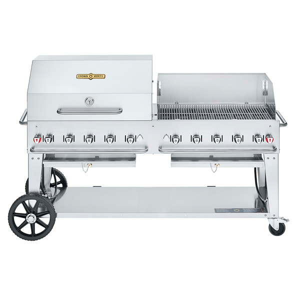 """Crown Verity CV-MCB-72RWP-NG Natural Gas 72"""" Mobile Outdoor Grill with RWP Roll Dome / Wind Guard Package Main Image 1"""